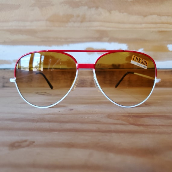 Vintage Red Aviator Sunglasses, 80s Men Women Sung