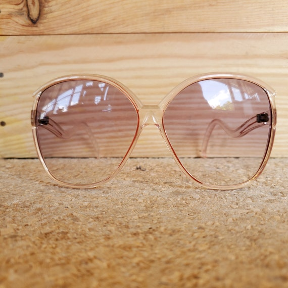 Oversized Square Clear Red Sunglasses, Vintage 19… - image 5