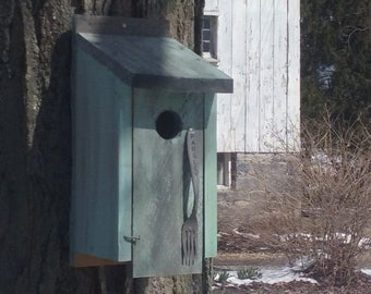 Rustic Robin's Egg Bluebird House