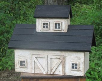 Antiqued Whitewashed Barn Birdhouse