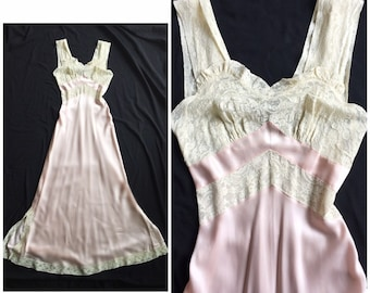 65d9467622b Vintage 1940s Fischer Heavenly Lingerie Pink Satin rayon and lace chevron  Nightgown XS