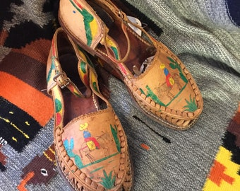 e15b223d62df Rare Hand Painted Mexican 40s 50s vintage Huraches sz 7.5 to 8 Cactus and  Burro