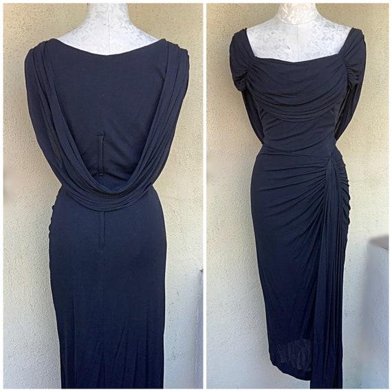 Peggy Hunt designer 40s 50s vintage charcoal drap… - image 2