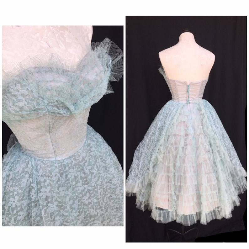 Blue Lace and Tulle vintage 1950s party prom dress S XS 24 waist