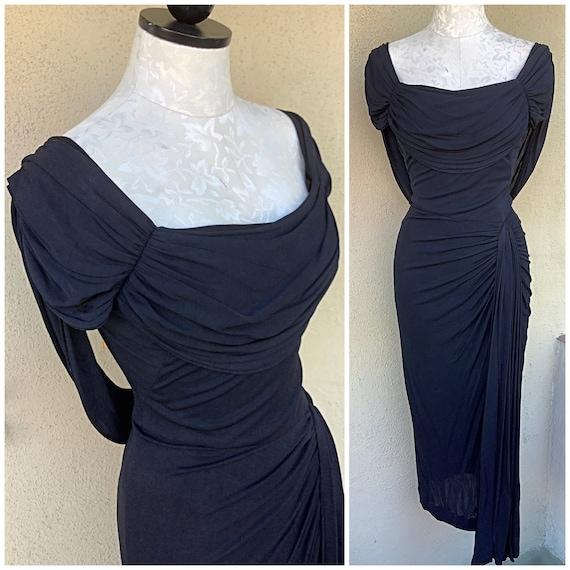 Peggy Hunt designer 40s 50s vintage charcoal drap… - image 1