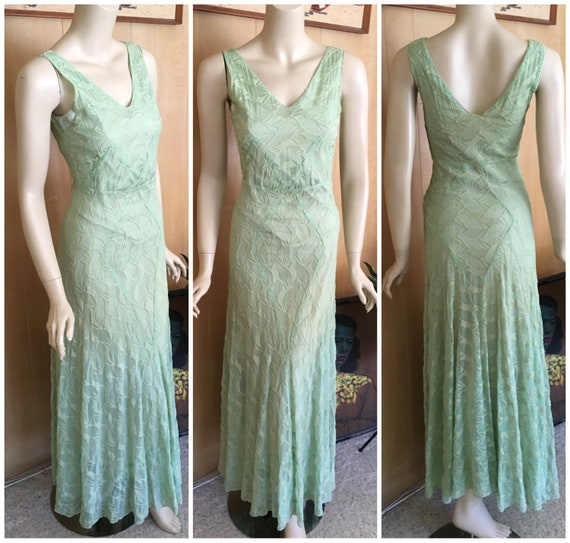 vintage 30s sheer green leaves nylon chiffon gown