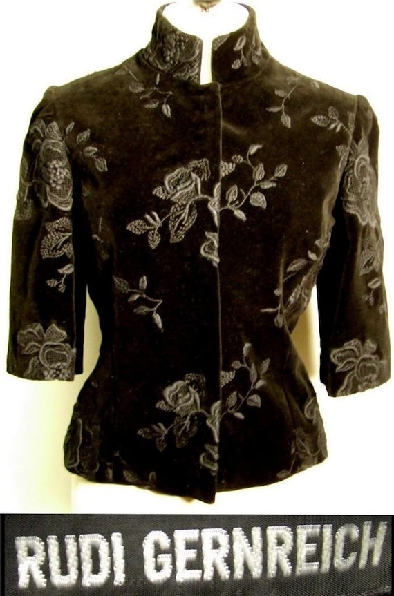 RUDI GERNREICH Luxe velvet embroidered jacket with