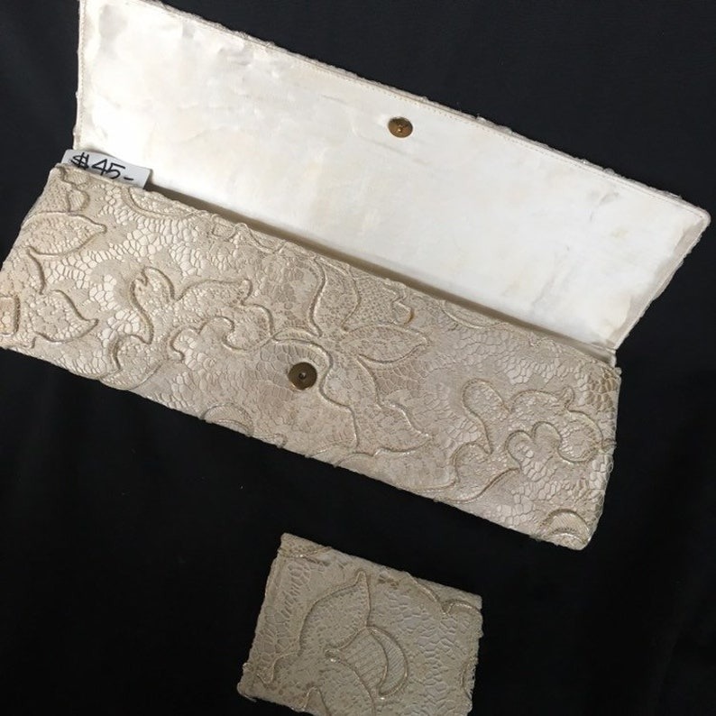 Vintage 50s white cream lace clutch purse shimmering beaded evening bag extra long Unique Vintage