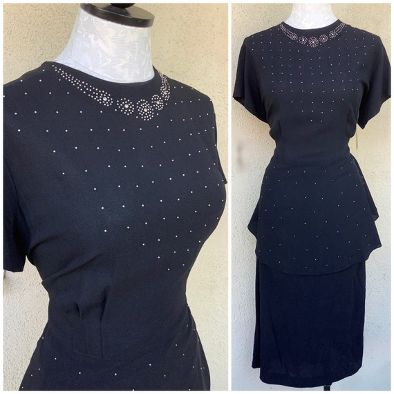Studded Splendor 1940s Film Noir peplum dress in j