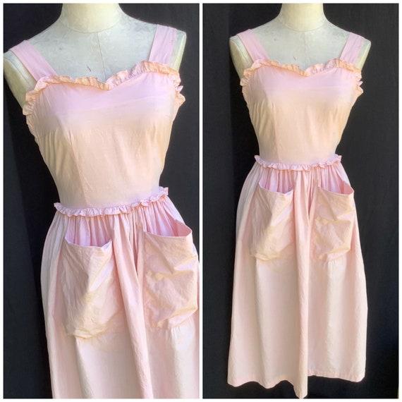 Vintage 40s pretty pink pinafore dress sundress sz