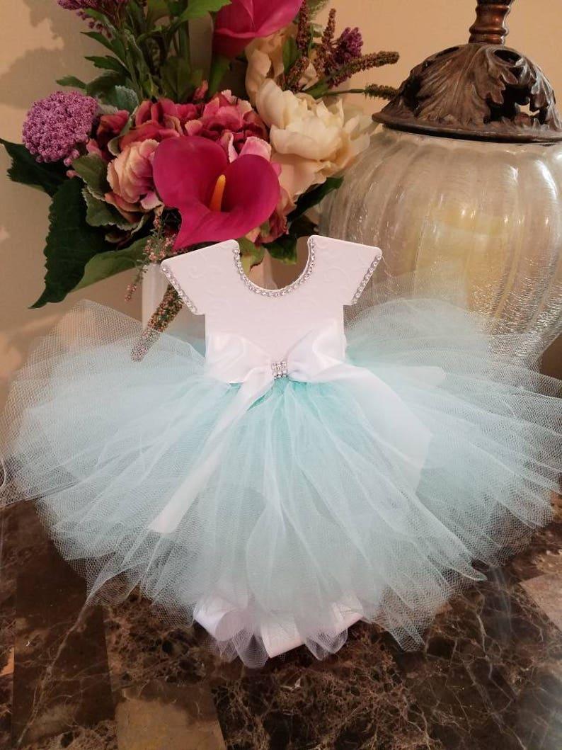 14cf7af14ffd Mint And White TuTu Dress Centerpiece   Ballerina Baby Shower