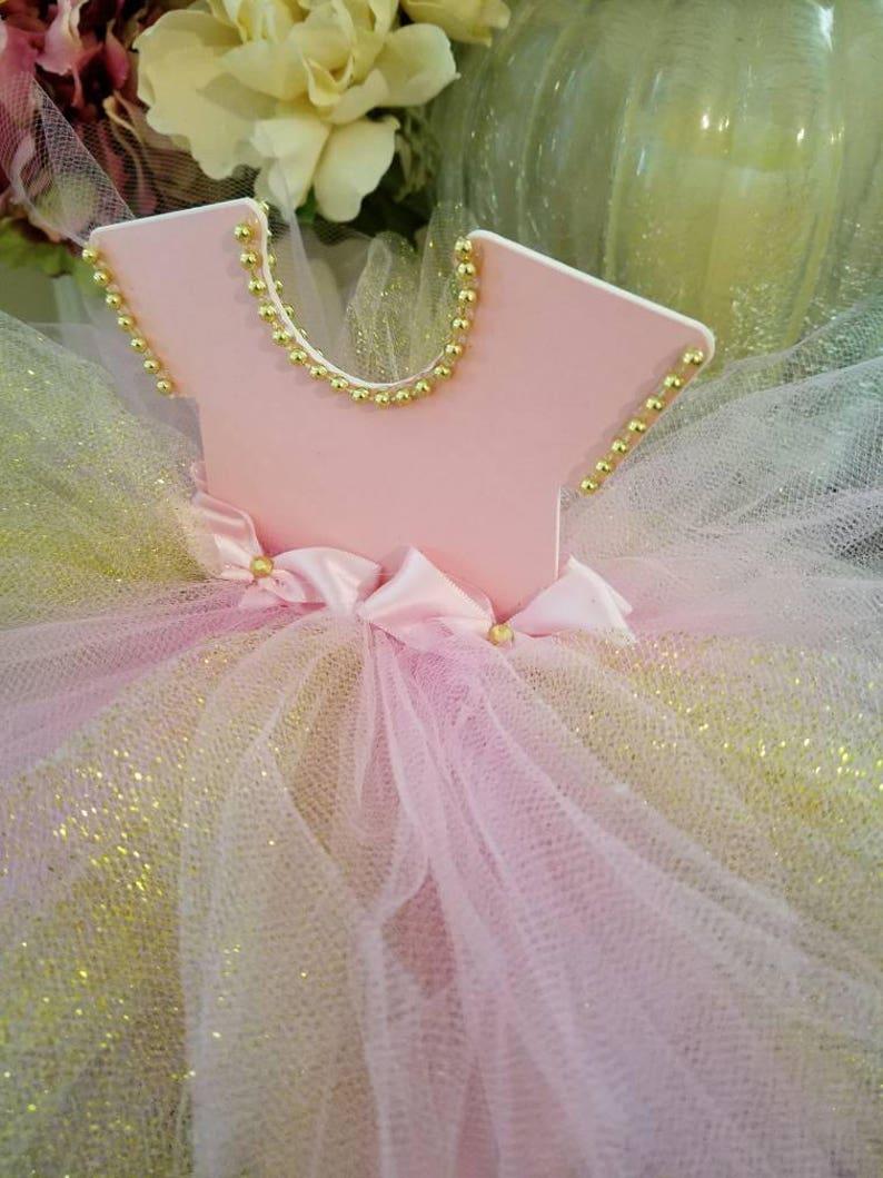 492a3f1b495d Pink And Gold TuTu Dress Centerpiece   Ballerina Baby Shower