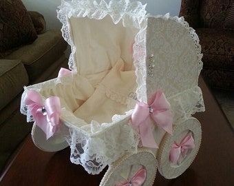 The Sonya 18 Inch Baby Carriage Centerpiece / Baby Shower Centerpiece / Carriage Centerpiece