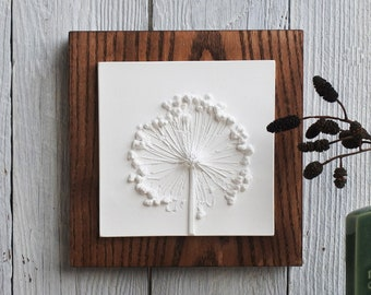 Allium Small Plaster Cast plaque, botanical art, flower tile, nature art, gifts for her, Birthday gifts, gifts for home