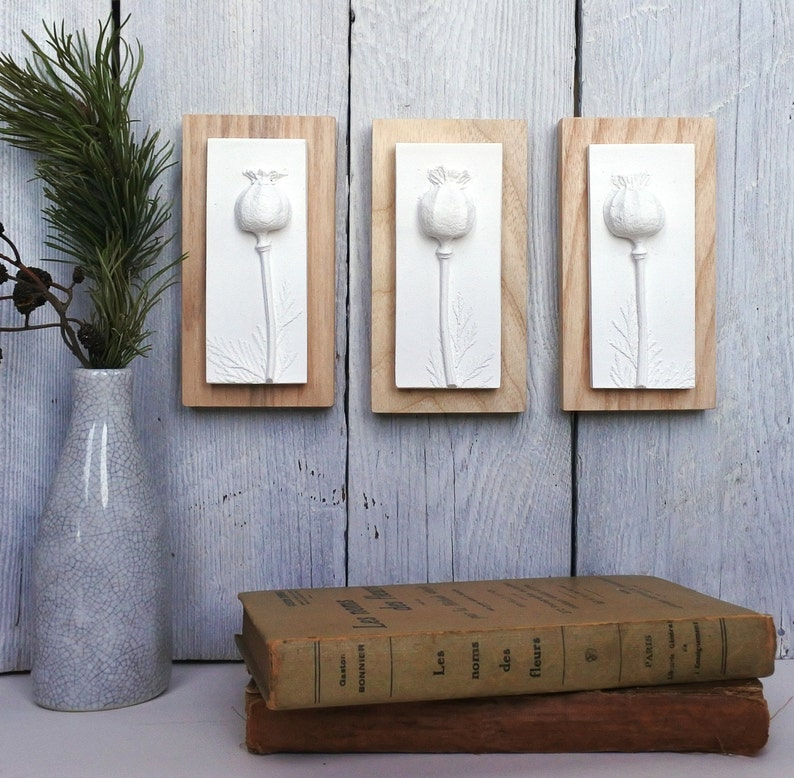 botanical art Mounted On Wood Dirthday gifts Poppies Miniature Plaster Cast Tiles nature art,