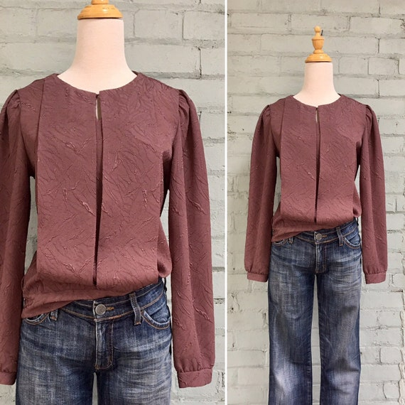 vintage 1980s jacquard blouse / 80s secretary blou
