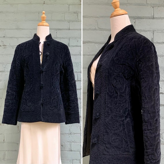 vintage 1970s quilted velvet jacket / 70s black ve