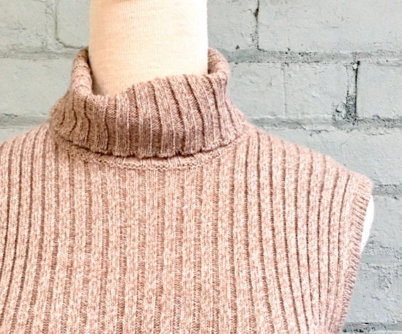 vintage 1990s sleeveless sweater dress 90s rib kn… - image 4