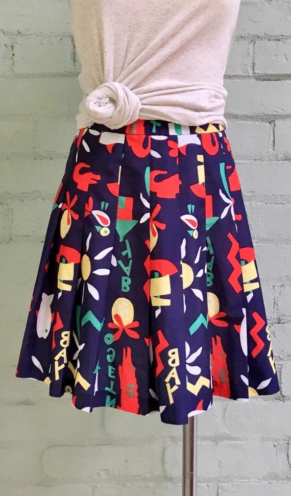vintage 1980s tennis skirt / 80s novelty print mi… - image 4