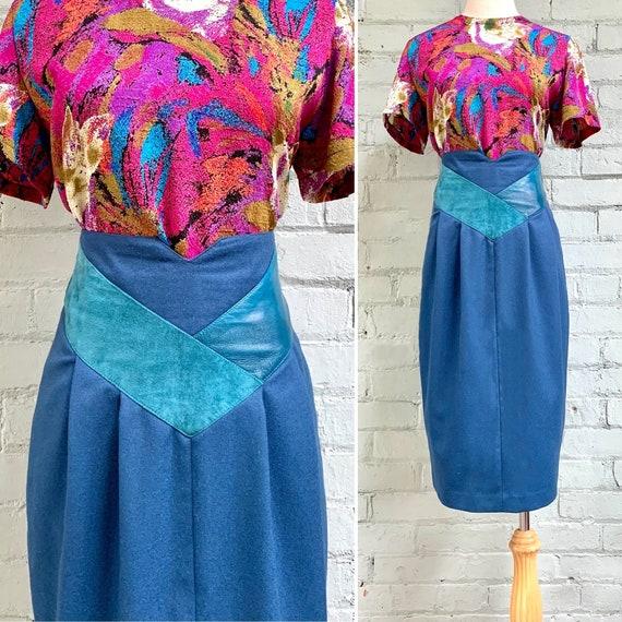 vintage 1980s high waisted skirt / 80s wool tulip