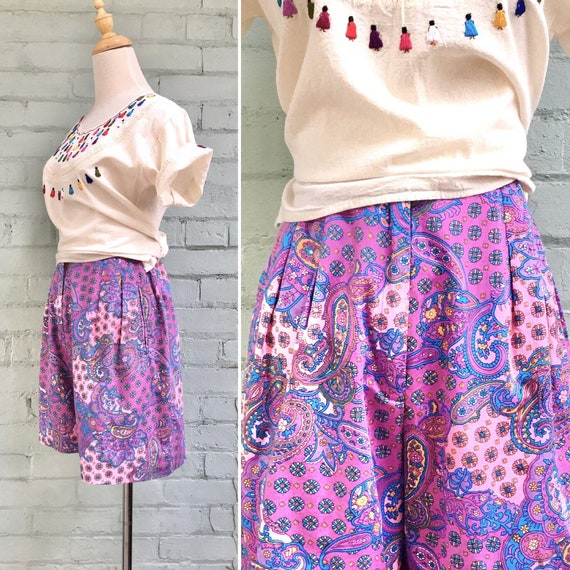 vintage 1980s pleated cotton shorts / 80s high wai
