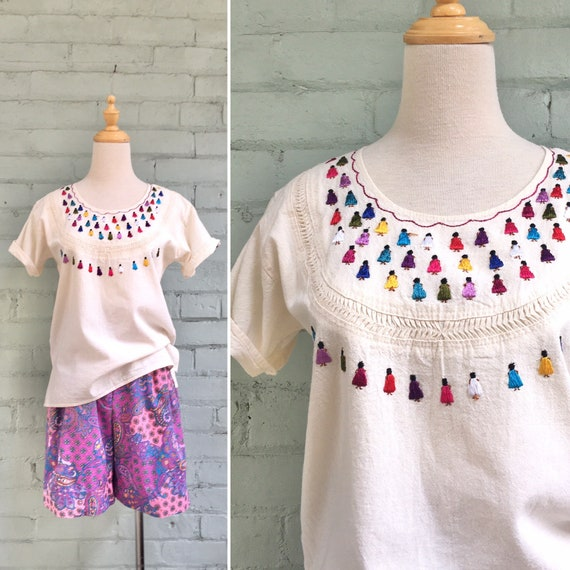 vintage 1970s embroidered blouse / 70s boho peasan
