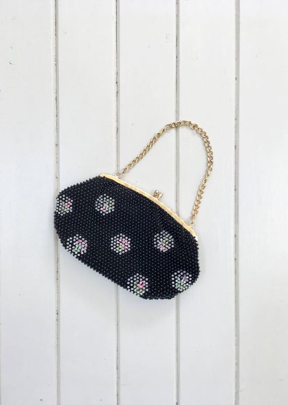vintage 1960s beaded bag / 1960s black beaded clu… - image 3