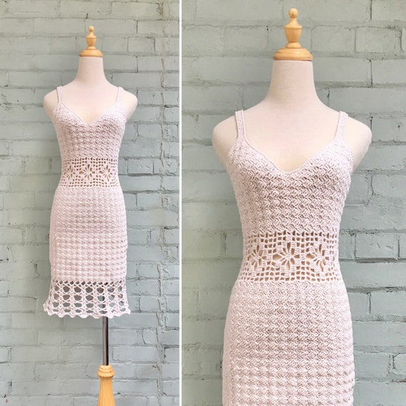 vintage 70s crochet mini dress / 1970s boho macram