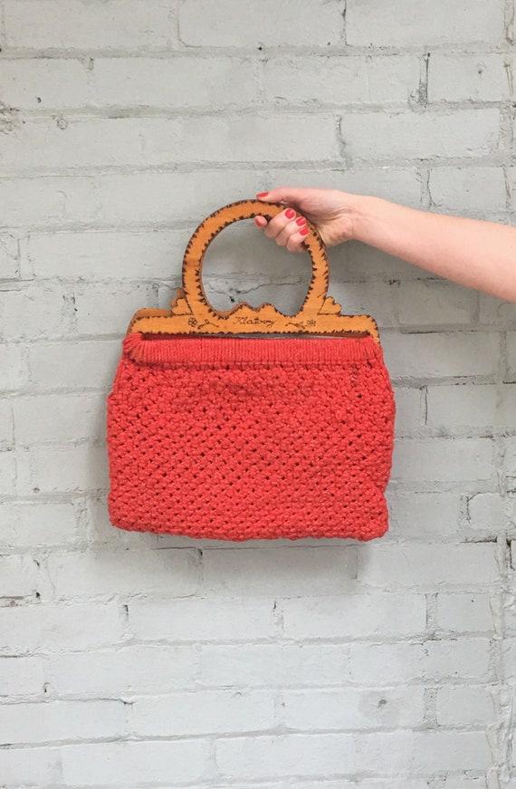 vintage 1970s knit bag / 70s wool crochet bag / wo