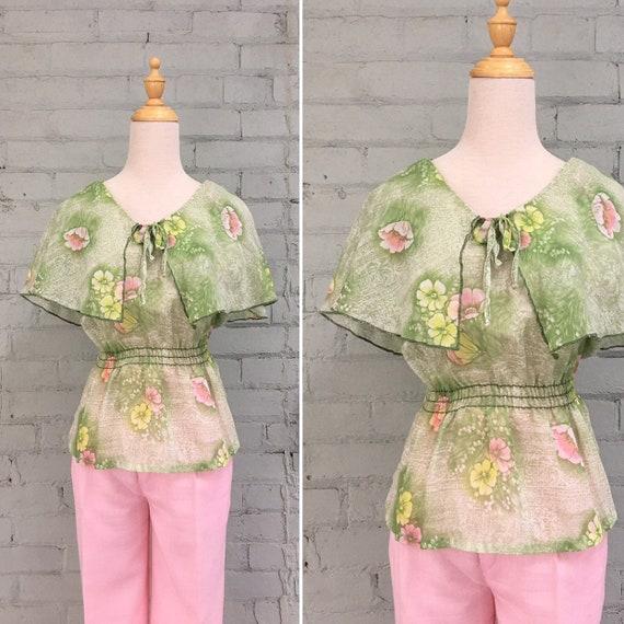 vintage 1970s floral prairie blouse / 70s flutter