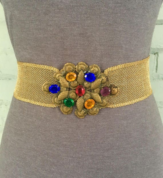 vintage 80s wide gold belt / 1980s metallic fashio