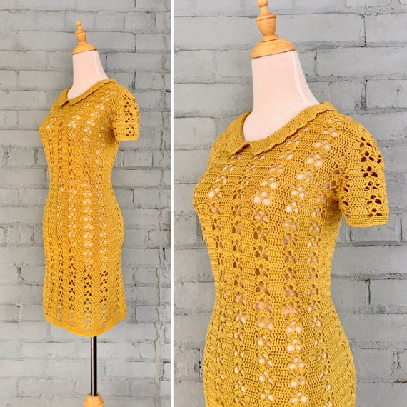 vintage 70s crochet dress / 1970s boho macrame min
