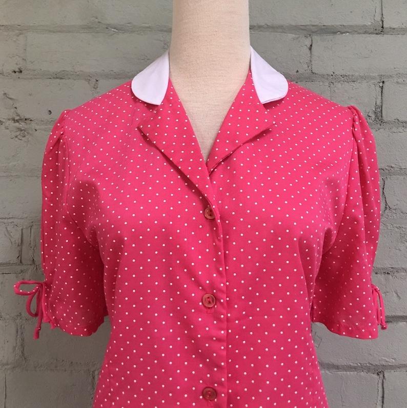 vintage 80s polka dot blouse  1980s piffed sleeve secretary blouse  Peter Pan collar blouse