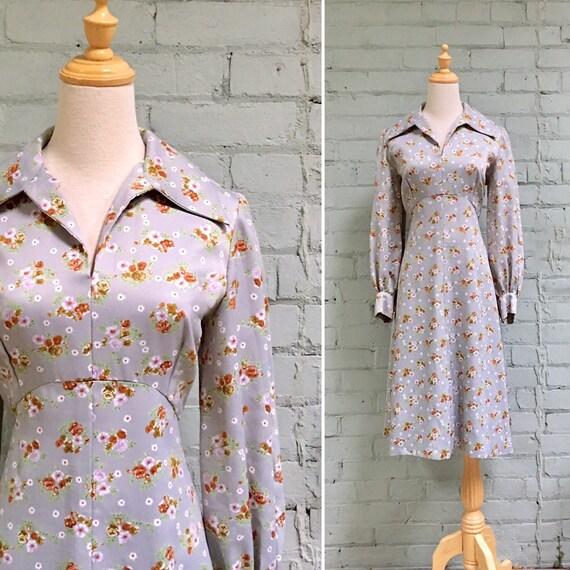 vintage 1970s secretary dress / 70s boho floral dr