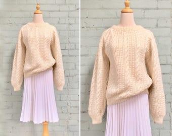 1970s wool fisherman sweater / 70s cream pullover sweater / 1970s cable knit sweater / 70s boyfriend sweater