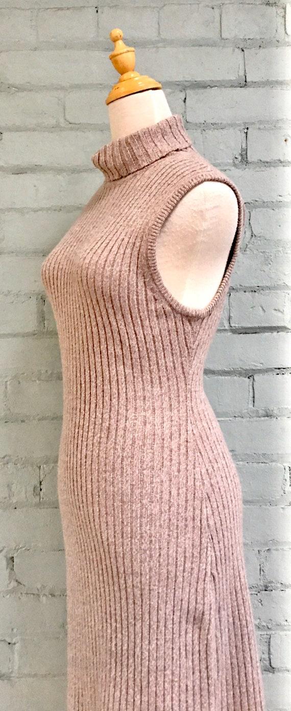 vintage 1990s sleeveless sweater dress 90s rib kn… - image 3