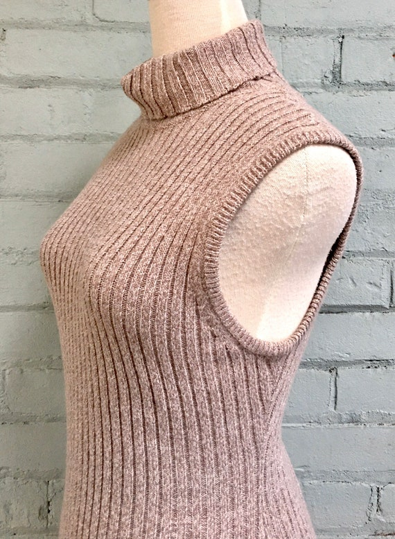 vintage 1990s sleeveless sweater dress 90s rib kn… - image 7