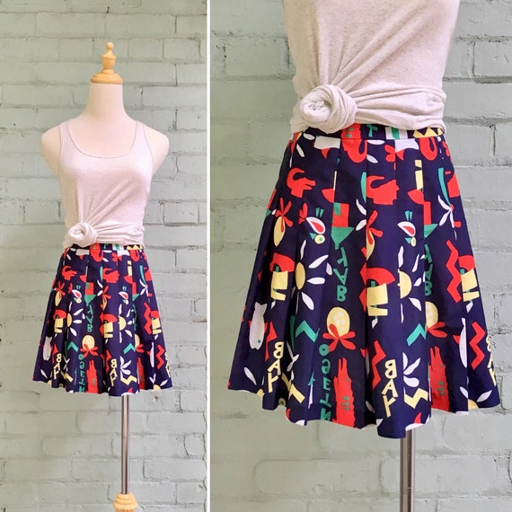 vintage 1980s tennis skirt / 80s novelty print min