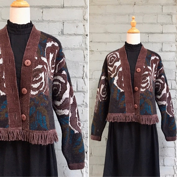 vintage 1980s cropped chenille cardigan / 80s flor