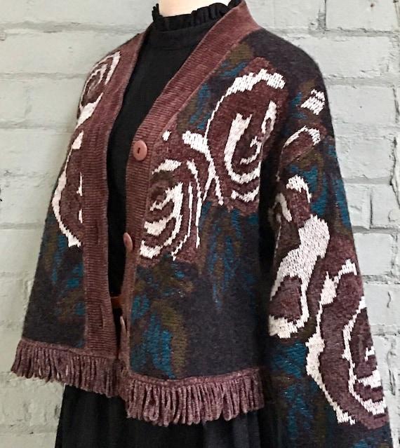vintage 1980s floral cropped cardigan / 80s boho … - image 3