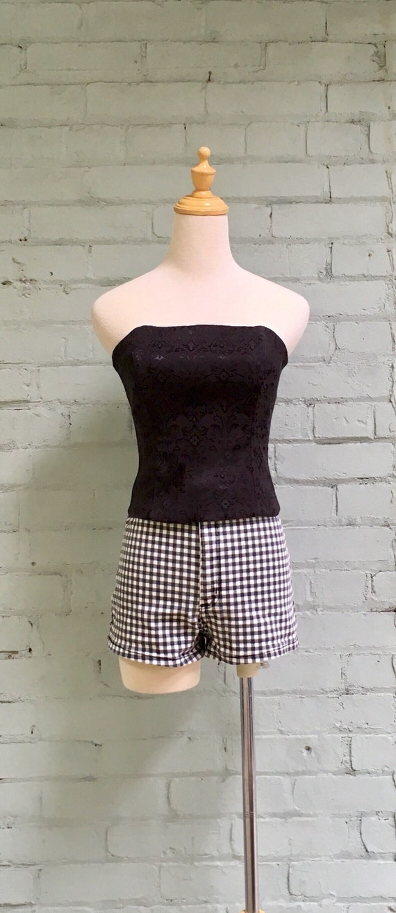 vintage 1980s bustier top / 1980s corset top / 19… - image 2