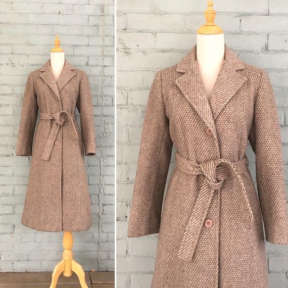 vintage 1970s long wool coat / 70s belted tweed co