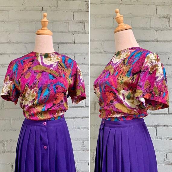 vintage 1980s novelty print short sleeve blouse /