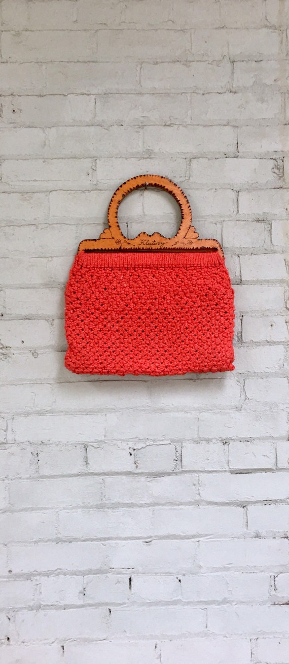Vintage 1970s Boho Chic Crochet Purse In Red