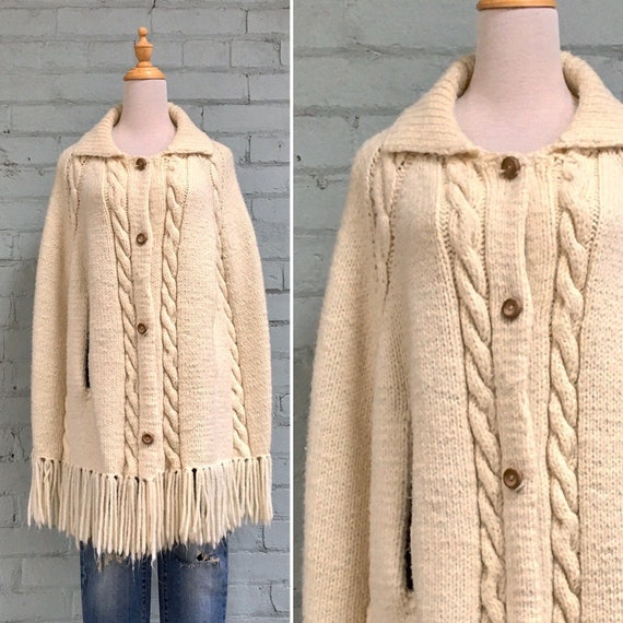 vintage 1970s cream knit wool poncho / 70s fringe