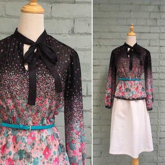 vintage 1970s peasant blouse / 70s peplum blouse /