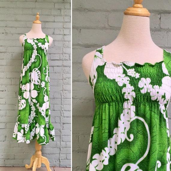 vintage 1960s floral maxi prairie dress / 60s slee