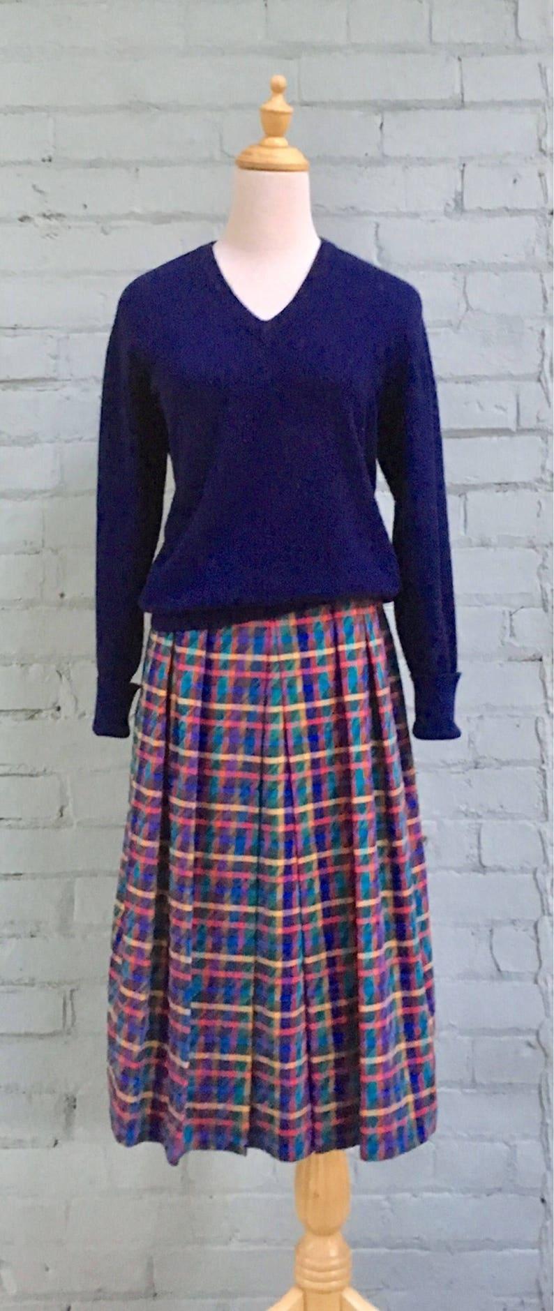 vintage 1980s plaid skirt  80s pleated midi skirt  tartan skirt