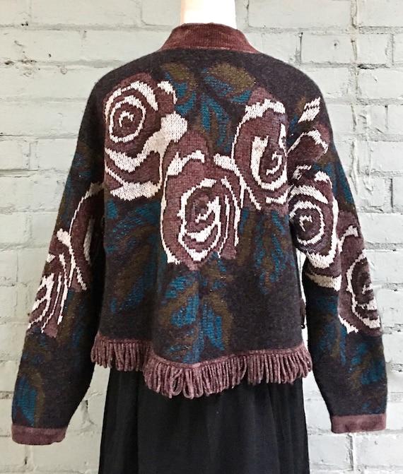 vintage 1980s floral cropped cardigan / 80s boho … - image 5
