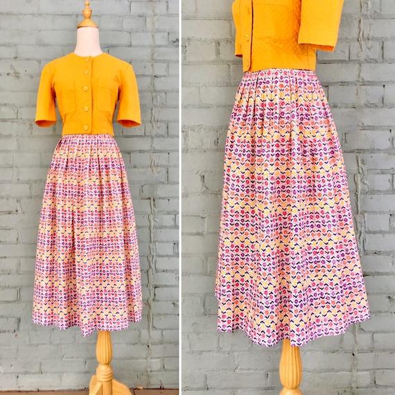 vintage 1950s circle skirt / 50s floral print cott